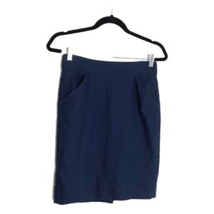 J. Crew Factory Navy Pencil Skirt Double Cotton 0
